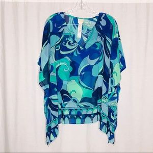 Chico's Blue Green Sheer Batwing Top S/M